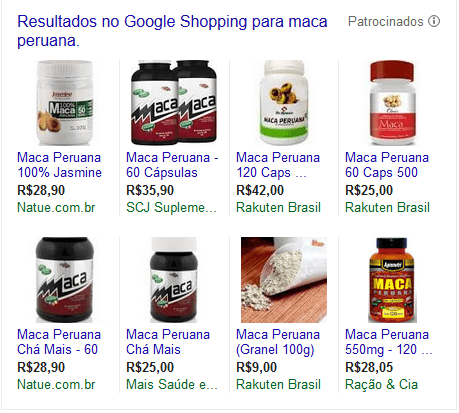 Sites que vendem Maca Peruana no Google Shopping