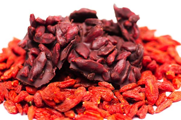 Bagas secas e vermelhas do Goji Berry