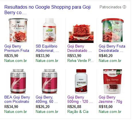 Painel do Google Shopping com vendas do Goji Berry